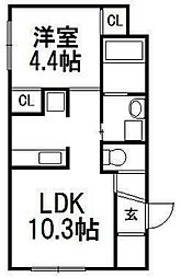 北海道札幌市白石区栄通13丁目の賃貸マンションの間取り