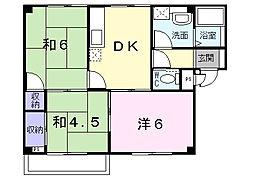 大阪府茨木市五十鈴町の賃貸アパートの間取り