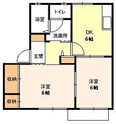 神奈川県平塚市西八幡2丁目の賃貸アパートの間取り