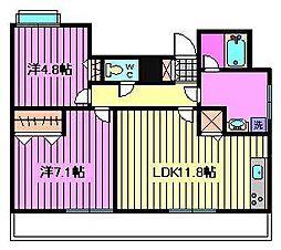 埼玉県さいたま市浦和区常盤7丁目の賃貸マンションの間取り