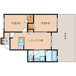 奈良県香芝市下田西の賃貸アパートの間取り