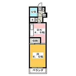 ブライトシティ柏木[4階]の間取り