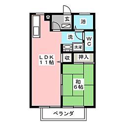 グリーンパークC[1階]の間取り