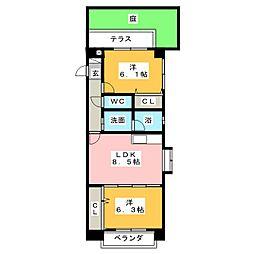 栄和ハイツII[1階]の間取り