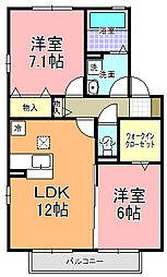 茨城県ひたちなか市峰後の賃貸アパートの間取り