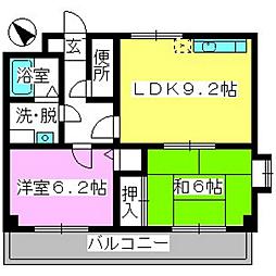 福岡県福岡市南区柏原1丁目の賃貸マンションの間取り
