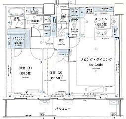 アウルタワー 40階2LDKの間取り