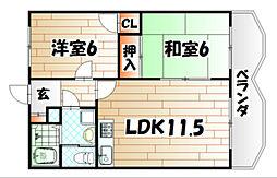 福岡県北九州市八幡東区中尾3丁目の賃貸アパートの間取り
