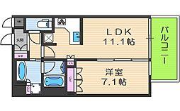 リーガル靭本町 4階1LDKの間取り