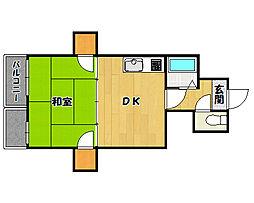 リバーサイドマンション桜 4階1DKの間取り