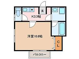 近鉄山田線 伊勢市駅 徒歩11分の賃貸アパート 2階1Kの間取り
