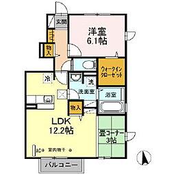 福島県郡山市名倉の賃貸アパートの間取り