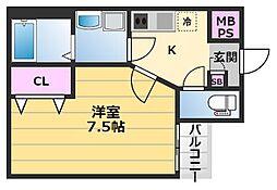 北花田ジーイーアン 3階1Kの間取り