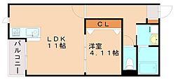 TKパリス1 1階1LDKの間取り