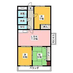 愛知県名古屋市中川区高畑4の賃貸マンションの間取り