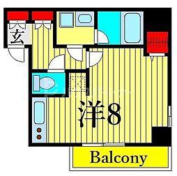 ジェノヴィア木場スカイガーデン 7階ワンルームの間取り