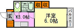 バス 牛田大橋下車 徒歩2分の賃貸マンション 3階1Kの間取り