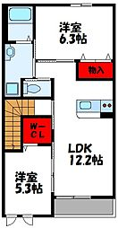 福岡県古賀市小竹の賃貸アパートの間取り