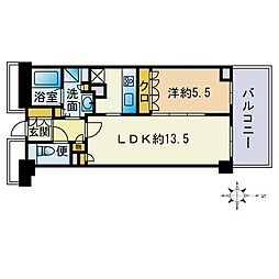ザ・パークハウス福岡タワーズEAST 18階1LDKの間取り