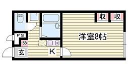 JR播但線 香呂駅 徒歩8分の賃貸アパート 1階1Kの間取り
