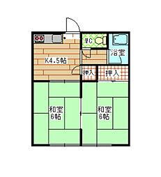 福岡県北九州市八幡西区里中2丁目の賃貸アパートの間取り