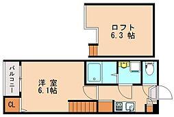 minaisa 2階1Kの間取り