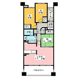 ファミール東岡崎スカイフォーラム 1403号室[14階]の間取り