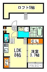 愛知県名古屋市中川区十番町1丁目の賃貸アパートの間取り
