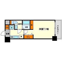 ラクラス新大阪 4階1Kの間取り