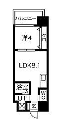 FDS AZUR 9階1LDKの間取り