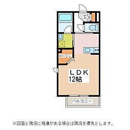 JR篠ノ井線 松本駅 徒歩11分の賃貸アパート 2階ワンルームの間取り