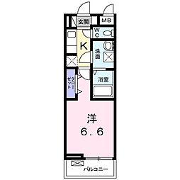 神奈川県川崎市中原区下沼部の賃貸アパートの間取り