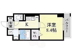 阪急京都本線 高槻市駅 徒歩3分の賃貸マンション 3階1Kの間取り