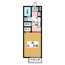 タウンコート旭[2階]の間取り