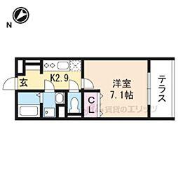 JR東海道・山陽本線 南草津駅 徒歩21分の賃貸アパート 1階1Kの間取り