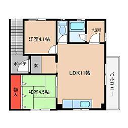 近鉄大阪線 大和朝倉駅 徒歩6分の賃貸マンション 2階2LDKの間取り