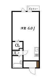 東京都目黒区大岡山1丁目の賃貸アパートの間取り
