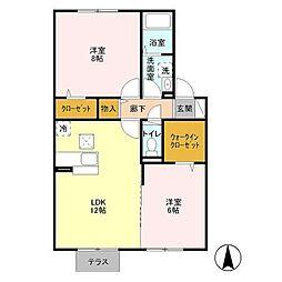 セントアンドリュースB棟[1階]の間取り