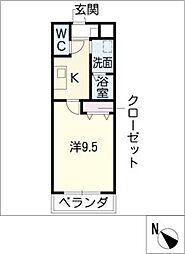 ロイヤルコ−ト天王[2階]の間取り