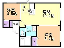 EXCELLENT HOUSE宮の沢 3階2LDKの間取り
