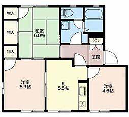 静岡県御殿場市東田中3丁目の賃貸アパートの間取り