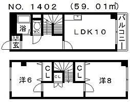 ラフィーヌ帝塚山[6階]の間取り