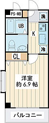 ジェラトーニ浦安 1階1Kの間取り