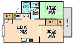 兵庫県伊丹市荻野西1丁目の賃貸アパートの間取り