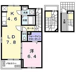 広島県福山市千田町3丁目の賃貸アパートの間取り