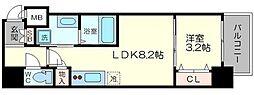 Osaka Metro中央線 阿波座駅 徒歩3分の賃貸マンション 7階1LDKの間取り