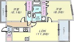 シー・クリサンス神戸 5階2LDKの間取り