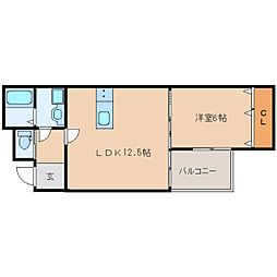 近鉄橿原線 橿原神宮前駅 徒歩2分の賃貸アパート 3階1LDKの間取り