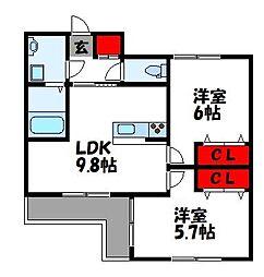 レーベンプラス 1階2LDKの間取り