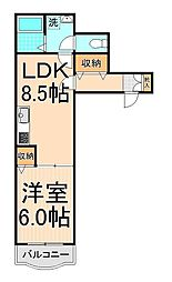 サンライトマンション[202号室]の間取り